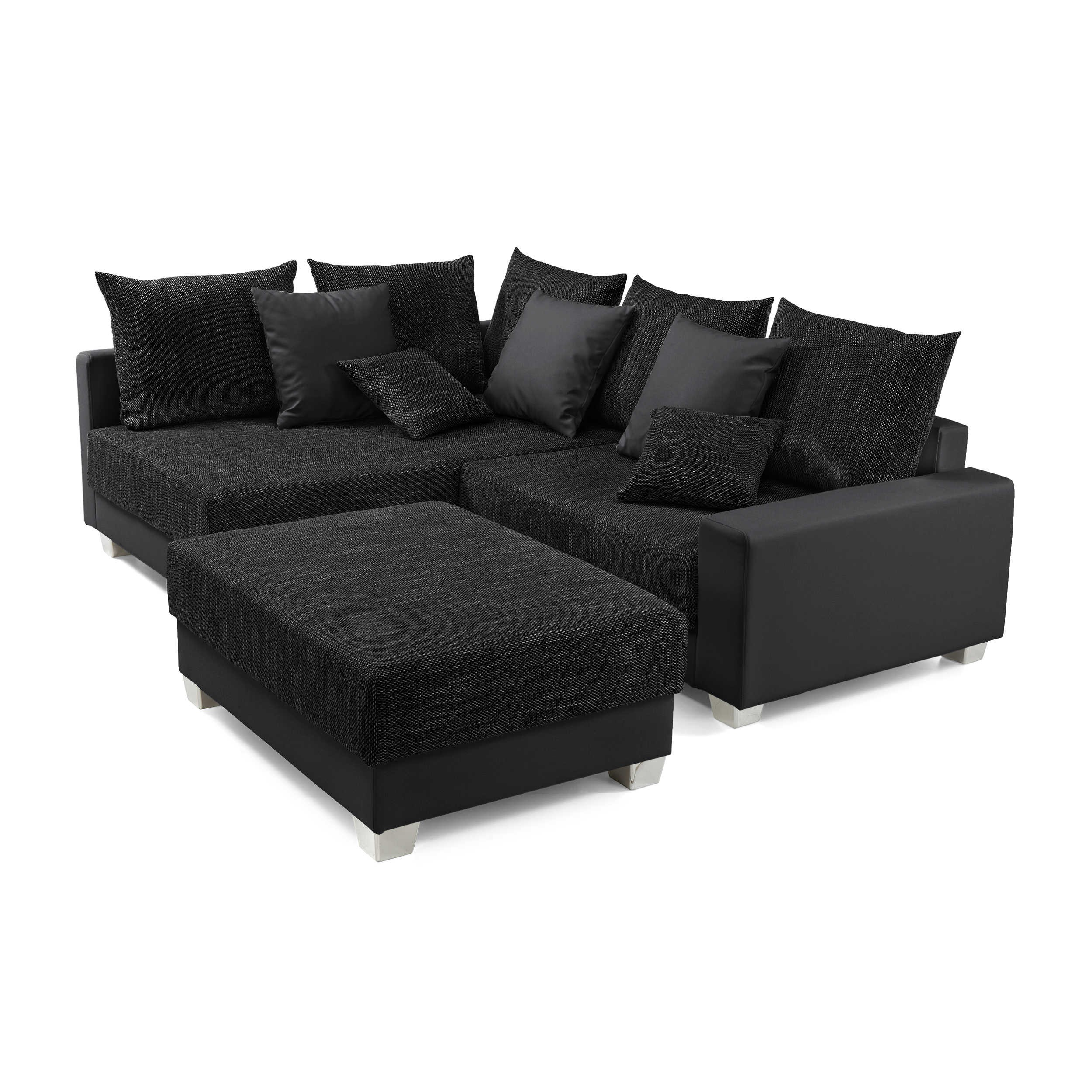 ecksofa mit hocker murlo schwarz stoff online kaufen bei woonio. Black Bedroom Furniture Sets. Home Design Ideas