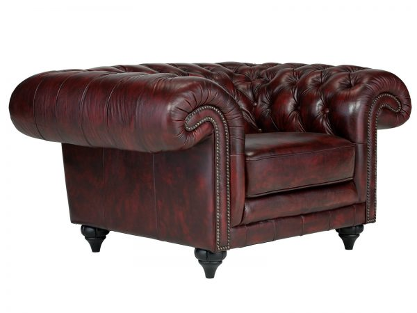 massivum Sessel aus Echtleder »Chesterfield Clifton « rot