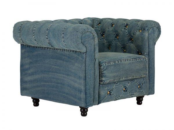 massivum Sessel aus Flachgewebe »Chesterfield« blau
