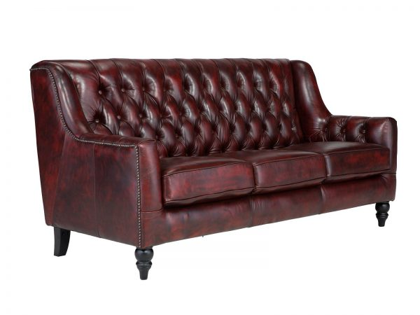 massivum Sofa aus Echtleder »Chesterfield Bozen « rot