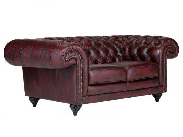 massivum Sofa aus Echtleder »Chesterfield Clifton « rot