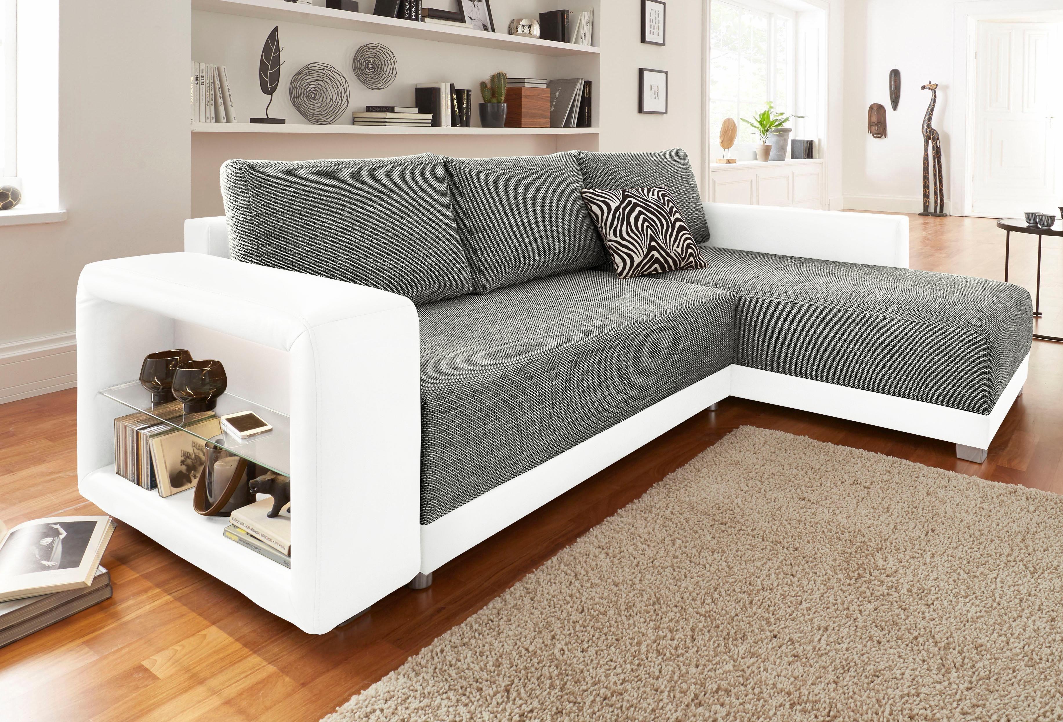 sit more polsterecke inkl led beleuchtung wahlweise mit bettfunktion wei online kaufen bei woonio. Black Bedroom Furniture Sets. Home Design Ideas