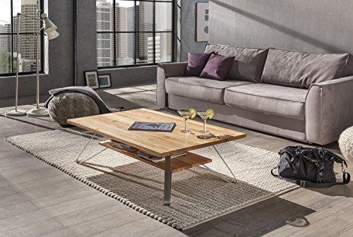 solider-Couchtisch-Wohnzimmertisch-Beistelltisch-Wilde-in-Kernbuche-mit-Edelstahlfen-115-x-75-x-38-cm-Ideal-fr-Naturholz-Fans-mit-Design-Anspruch-passend-zu-Wohnwand-Massivholz-und-Ledersofa-0