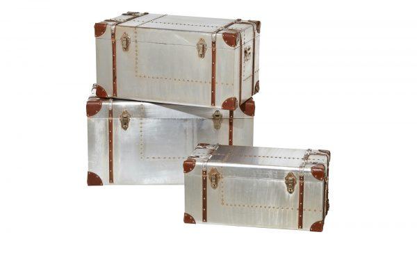 3er-Set Aufbewahrungsboxen  Falcone 3er-Set Aufbewahrungsboxen  Falcone-3er-Set Aufbewahrungsboxen-silber Breite: 82 cm Höhe: 47 cm silber