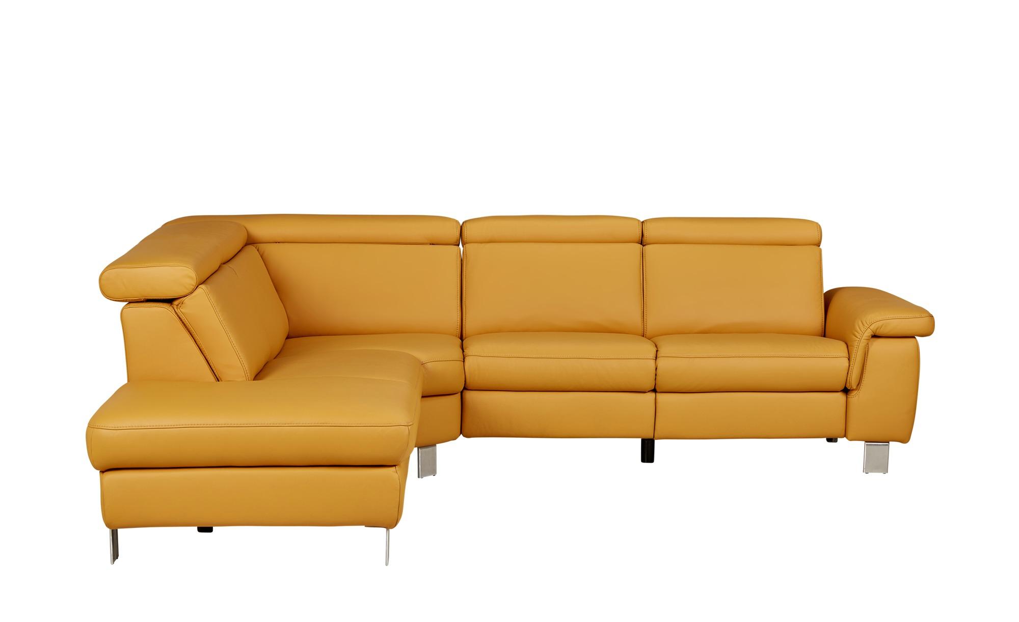 ecksofa aus leder aruba breite h he 81 cm gelb online kaufen bei woonio. Black Bedroom Furniture Sets. Home Design Ideas