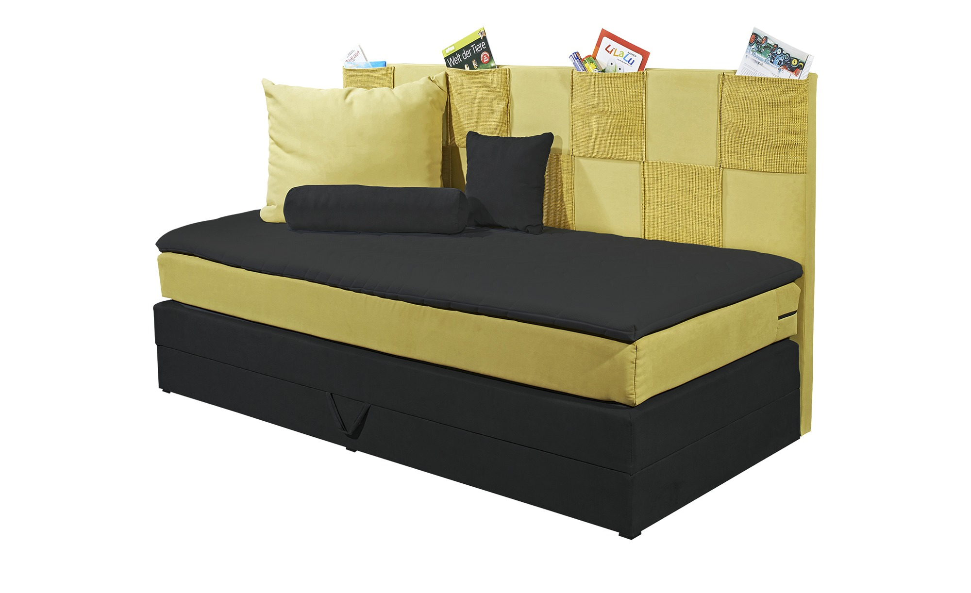 einzel boxspringbett gelb mit bettkasten clever breite 98. Black Bedroom Furniture Sets. Home Design Ideas