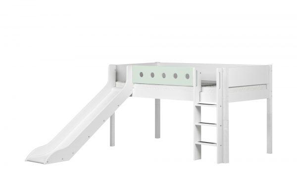 FLEXA Halbhohes Bett mit Rutsche  Flexa White FLEXA Halbhohes Bett mit Rutsche  Flexa White-Halbhohes Bett mit Rutsche-FLEXA-weiß Breite: 250 cm Höhe: 120 cm weiß
