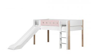 FLEXA Halbhohes Bett Mit Rutsche Flexa White Breite: 250 Cm Höhe: 120 Cm  Weiß