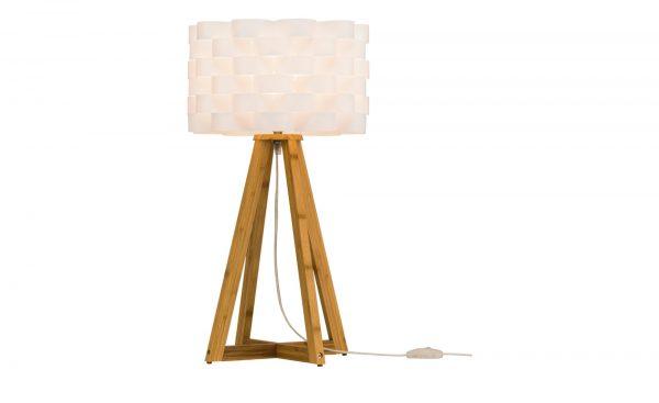 KHG Tischlampe mit Holzfuß und weißem Schirm KHG Tischlampe mit Holzfuß und weißem Schirm-Tischlampe mit Holzfuß und weißem Schirm-KHG-weiß Breite: 30 cm Höhe: 55 cm weiß