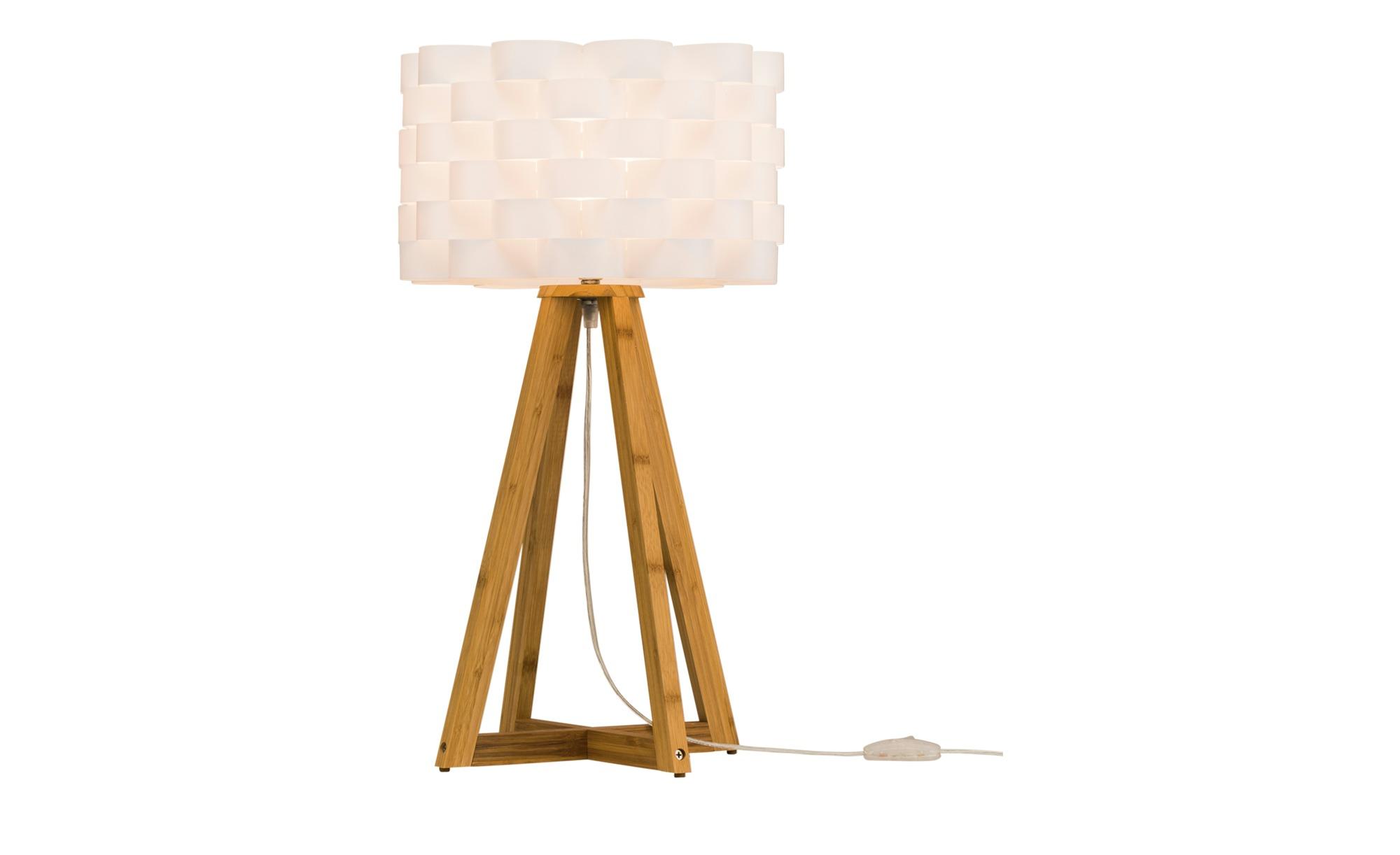 khg tischlampe mit holzfu und wei em schirm breite 30 cm h he 55 cm wei online kaufen bei woonio. Black Bedroom Furniture Sets. Home Design Ideas