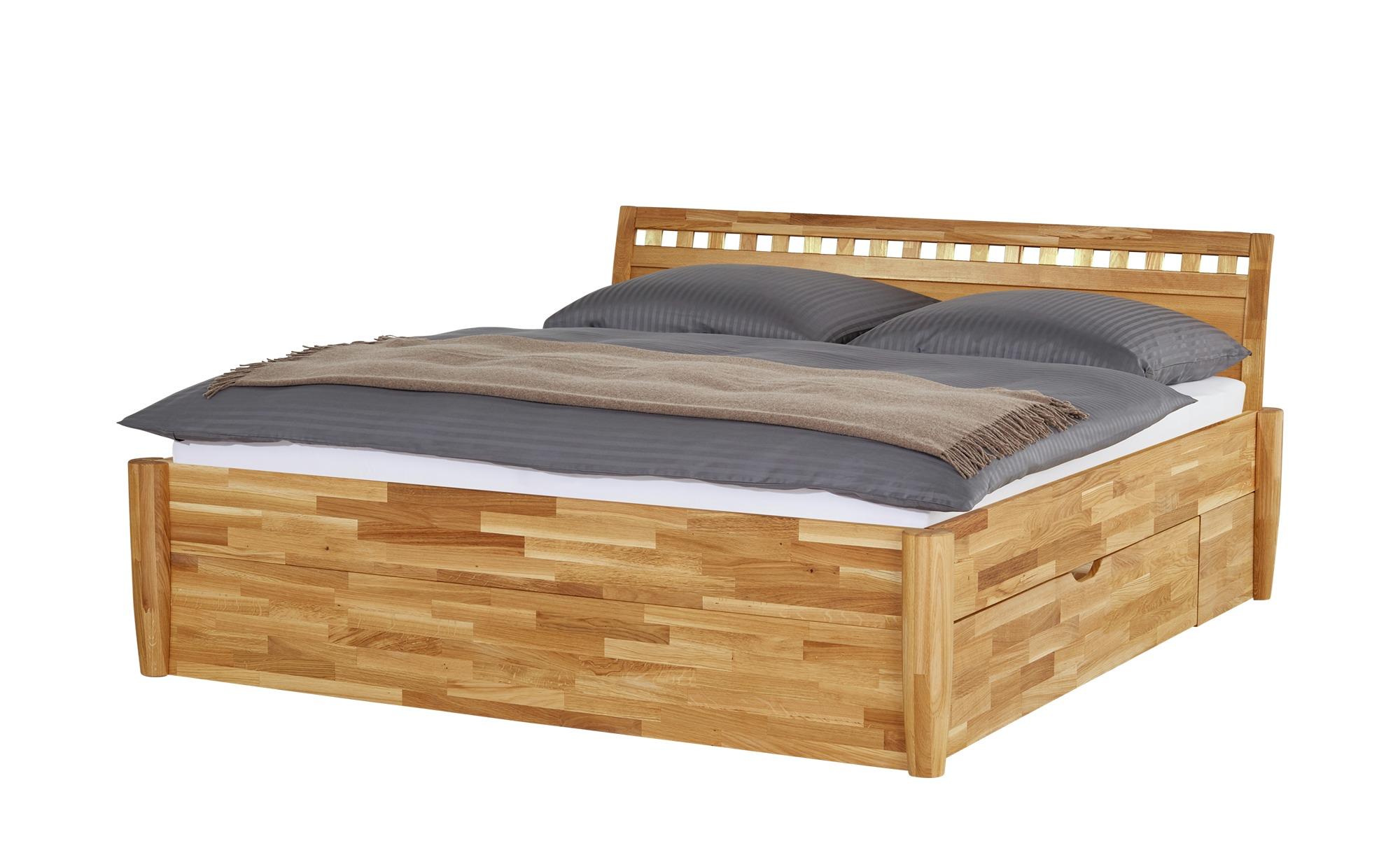 massivholz bettgestell timber breite 176 cm h he 93 cm holzfarben online kaufen bei woonio. Black Bedroom Furniture Sets. Home Design Ideas
