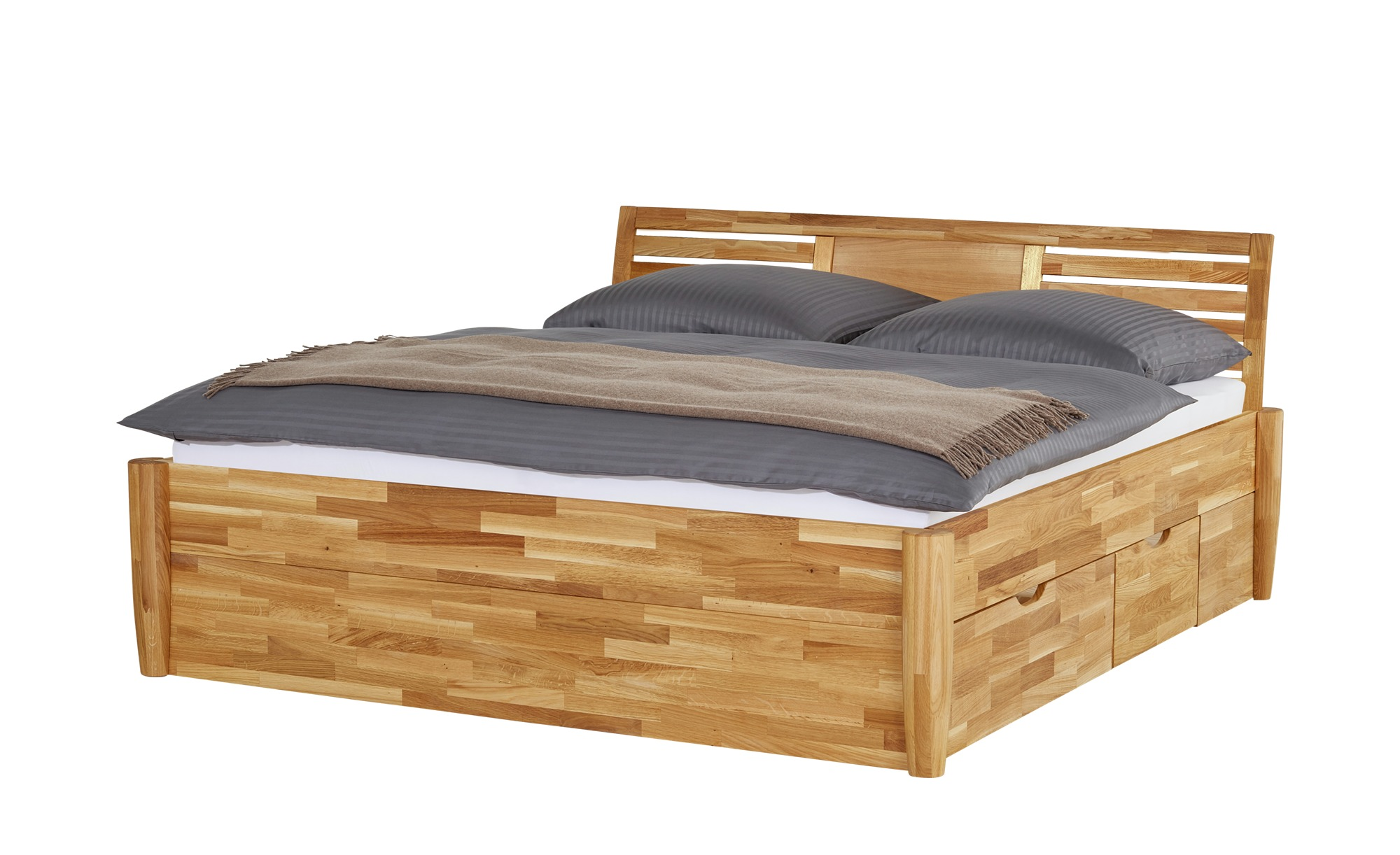 massivholz bettgestell timber breite 176 cm h he 93 cm holzfarben online kaufen bei woonio. Black Bedroom Furniture Sets. Home Design Ideas
