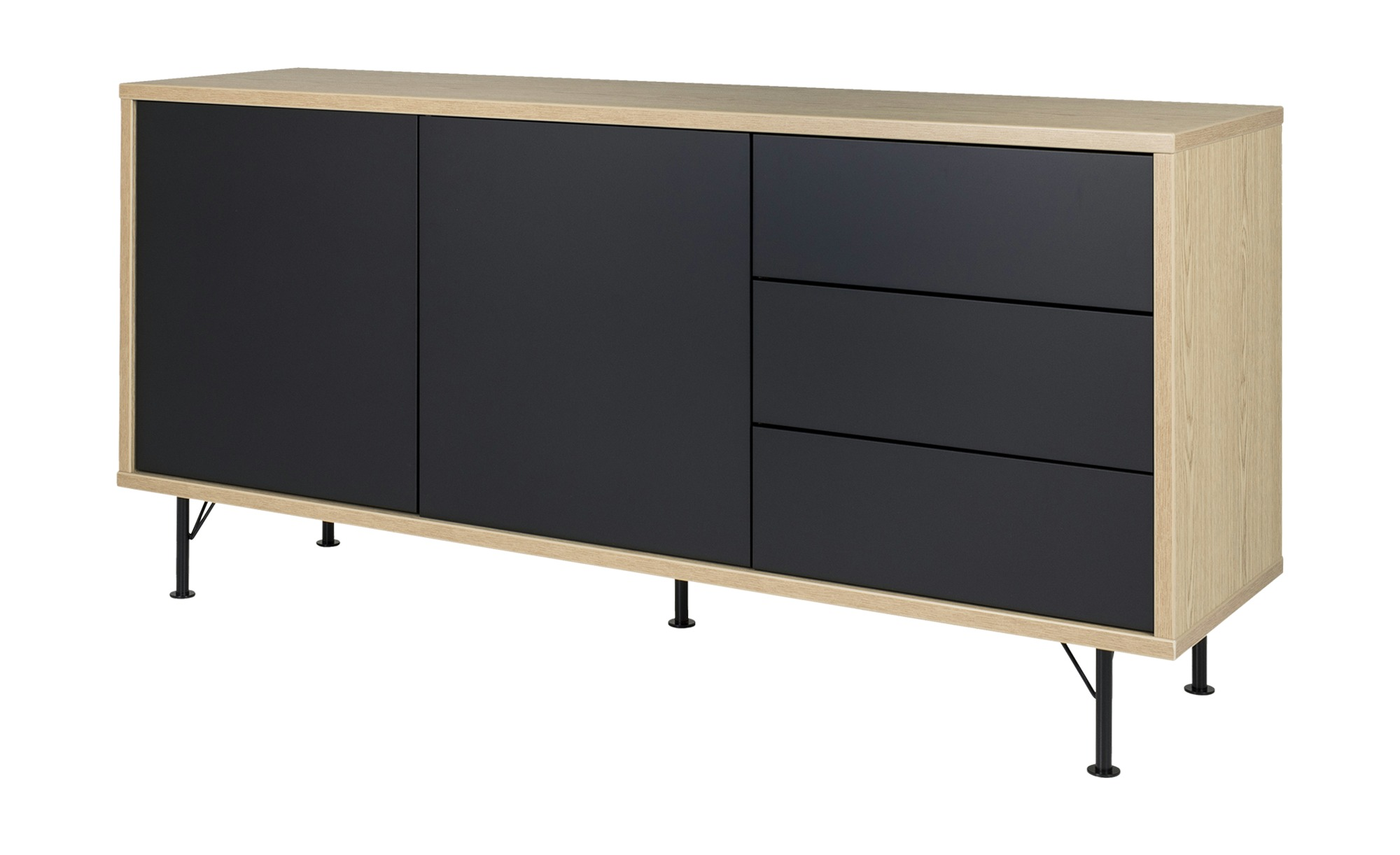 sideboard malte breite 164 cm h he 79 cm schwarz online kaufen bei woonio. Black Bedroom Furniture Sets. Home Design Ideas