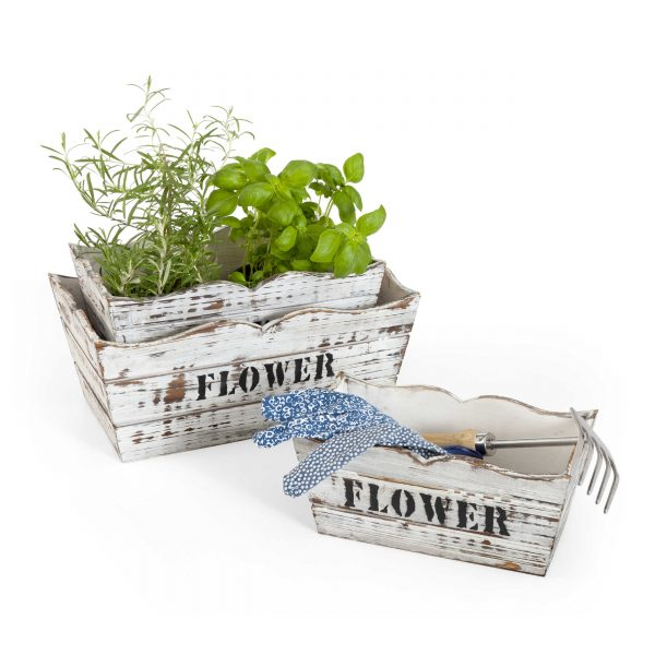 bertopf flower holz 3er set wei holz online kaufen bei woonio. Black Bedroom Furniture Sets. Home Design Ideas