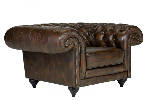 massivum Sessel aus Echtleder »Chesterfield Clifton « braun