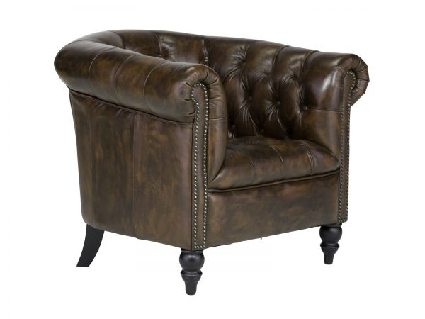 massivum Sessel aus Echtleder »Chesterfield Derry« braun