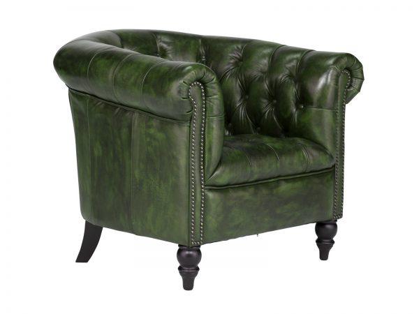 massivum Sessel aus Echtleder »Chesterfield Derry« grün