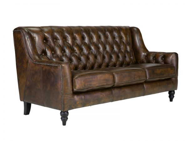 massivum Sofa aus Echtleder »Chesterfield Bozen « braun