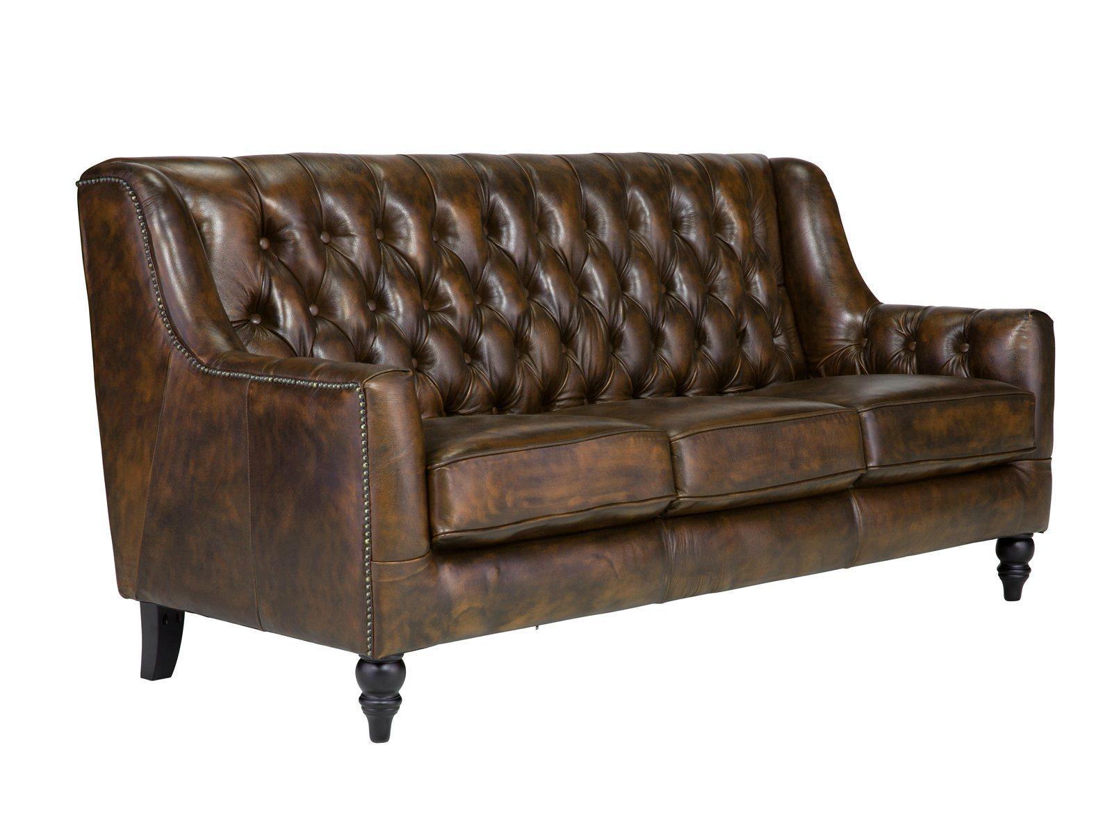 Massivum sofa aus echtleder chesterfield bozen braun for Echtleder sofa