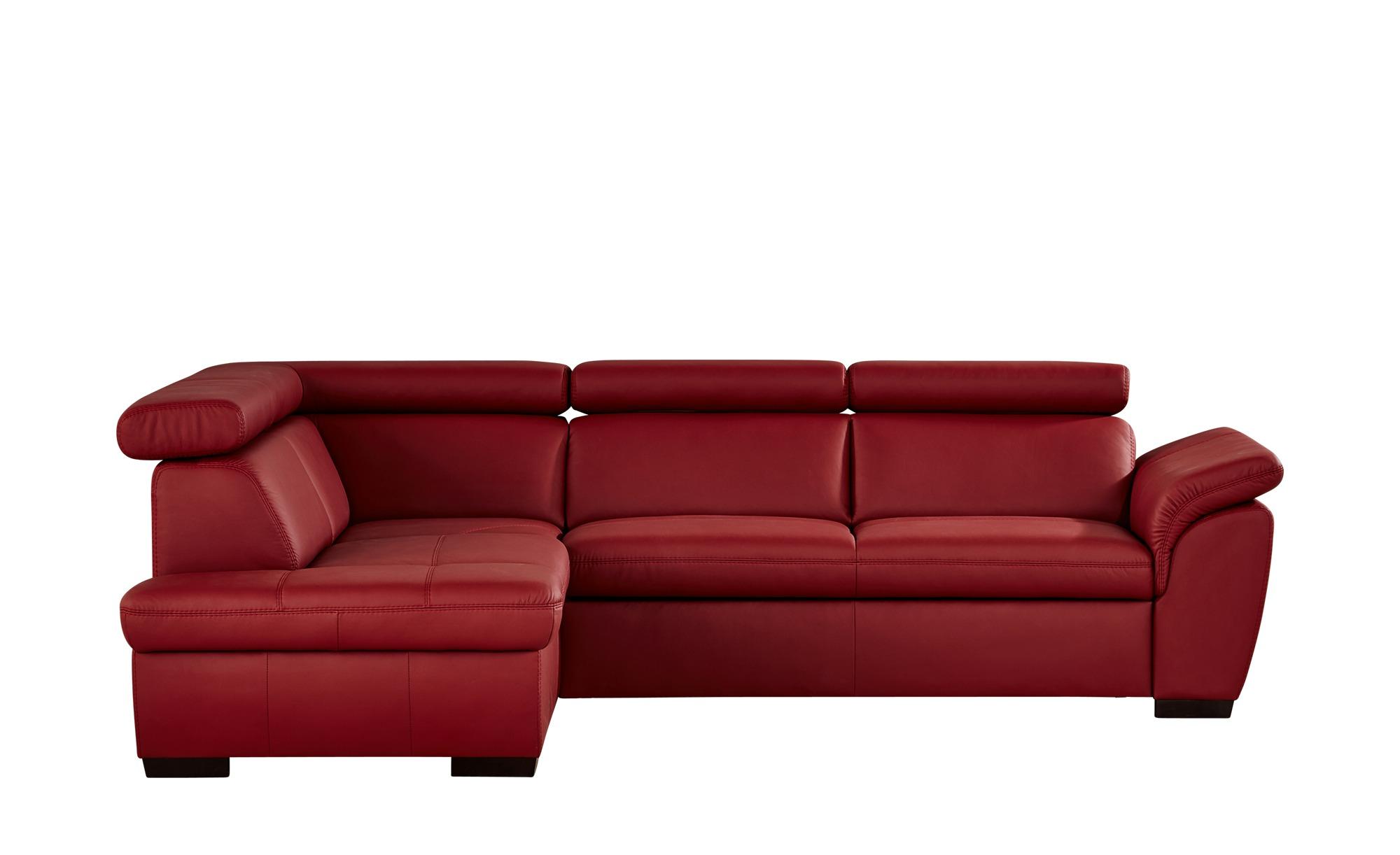 uno ecksofa aus leder samantha breite h he 82 cm rot online kaufen bei woonio. Black Bedroom Furniture Sets. Home Design Ideas