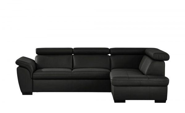 uno ecksofa aus leder samantha breite h he 82 cm schwarz. Black Bedroom Furniture Sets. Home Design Ideas
