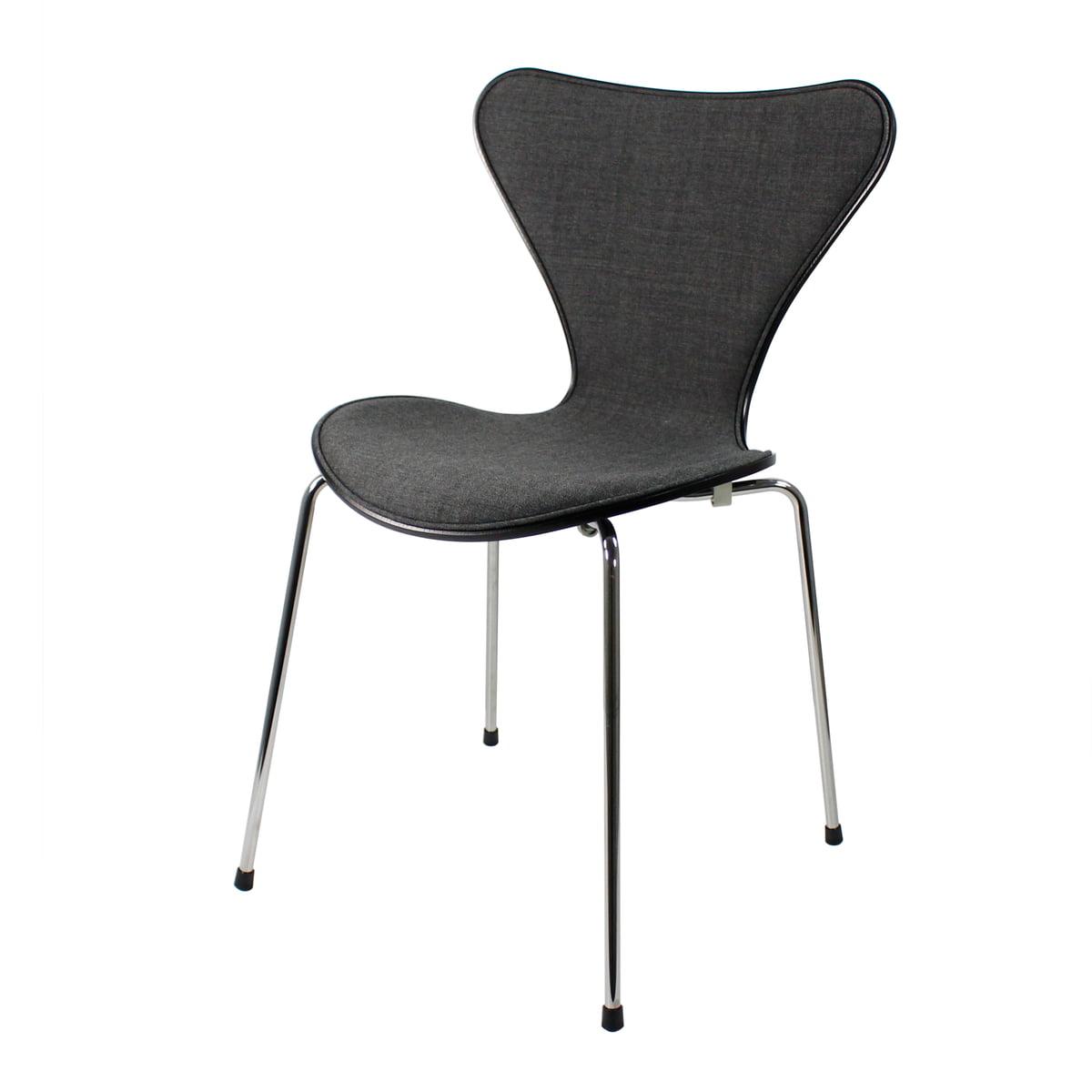 fritz hansen serie 7 stuhl frontpolster esche schwarz gef rbt verchromt 46 5 cm remix 163. Black Bedroom Furniture Sets. Home Design Ideas