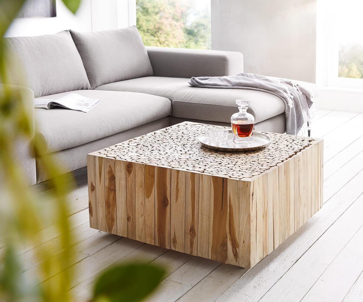 delife wohnzimmertisch ladarius 80x80 teak natur rollbar holzscheiben couchtische 12282 online. Black Bedroom Furniture Sets. Home Design Ideas