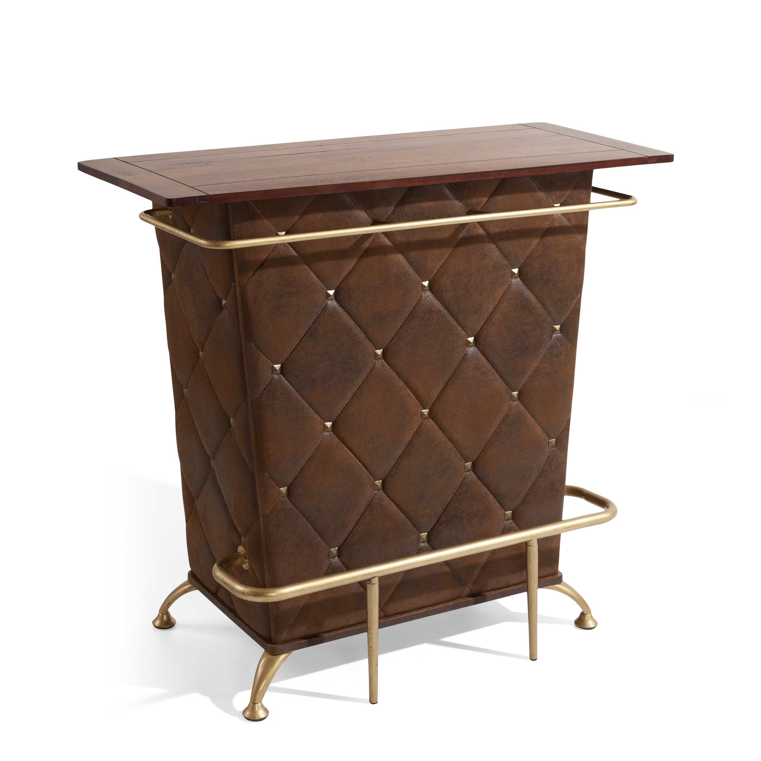 kare bartisch vintage 120 x 52 cm braun mikrofaser online kaufen bei woonio. Black Bedroom Furniture Sets. Home Design Ideas