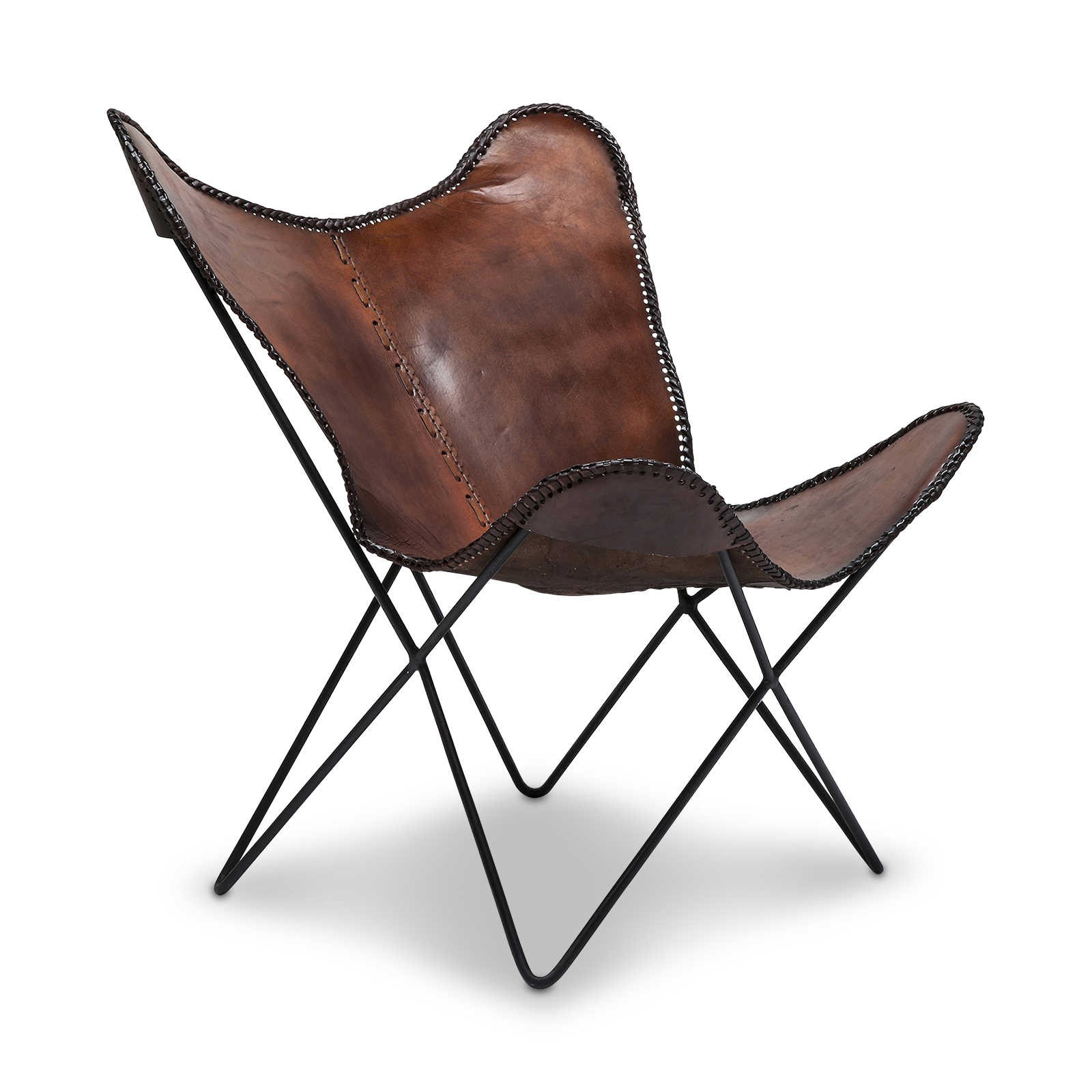 KARE Sessel Butterfly Braun Leder online kaufen bei WOONIO