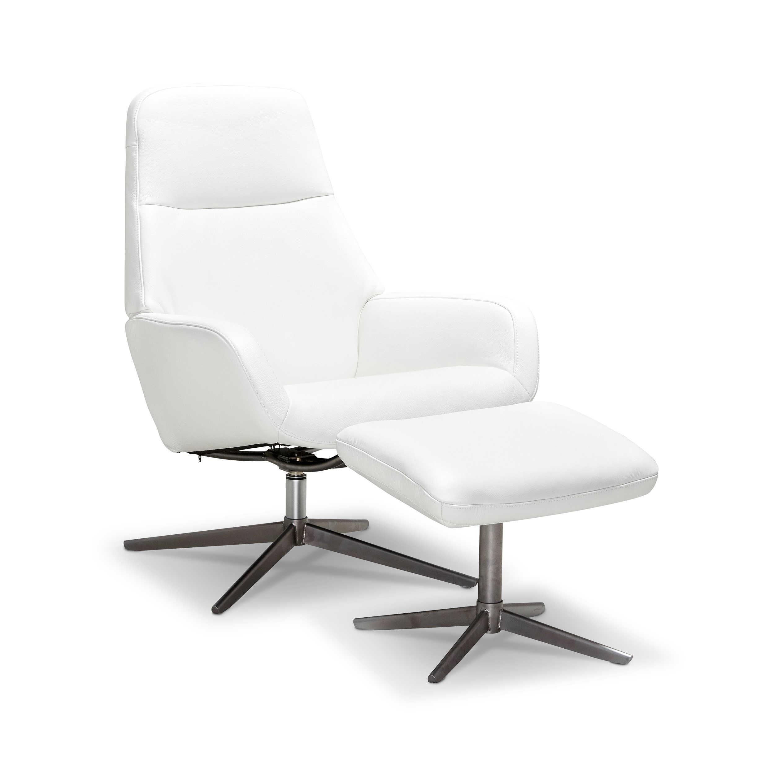 kebe sessel mit hocker camillo wei leder online kaufen bei woonio. Black Bedroom Furniture Sets. Home Design Ideas