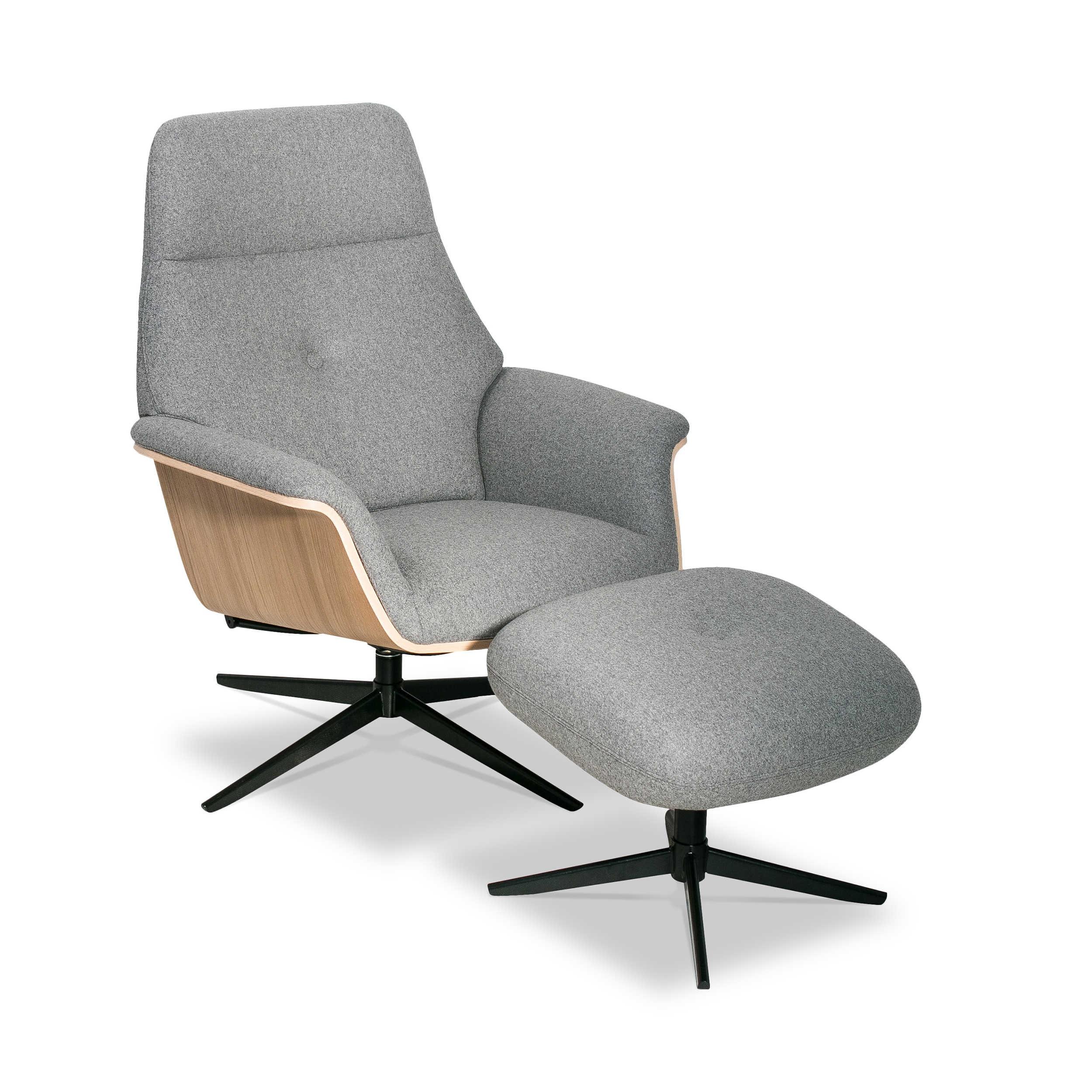 kebe sessel mit hocker rest eiche grau stoff online kaufen bei woonio. Black Bedroom Furniture Sets. Home Design Ideas