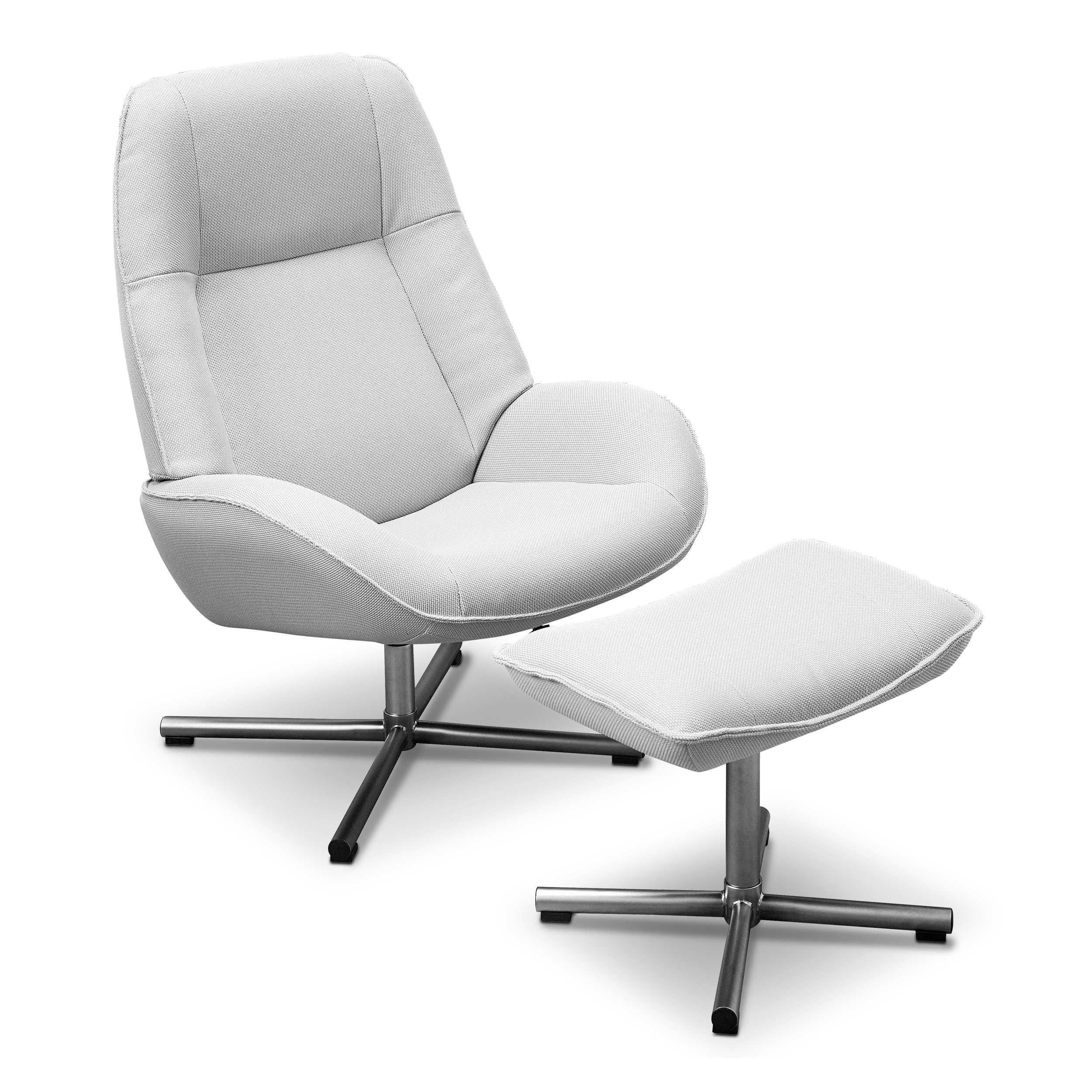 Kebe Sessel mit Hocker Roma Grau Stoff online kaufen bei WOONIO