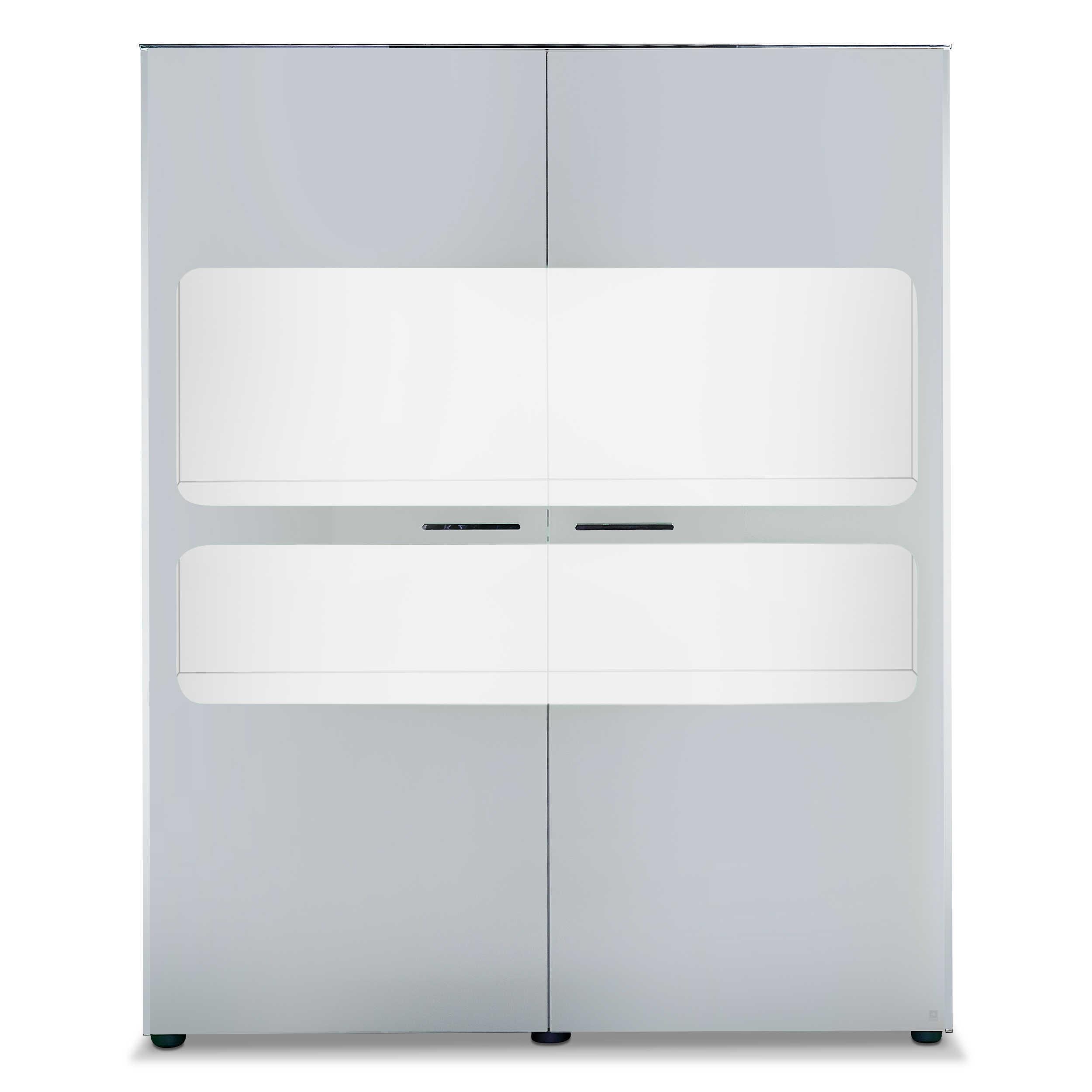 Leonardo Living Highboard Cloud B Weiß Glas online kaufen bei WOONIO