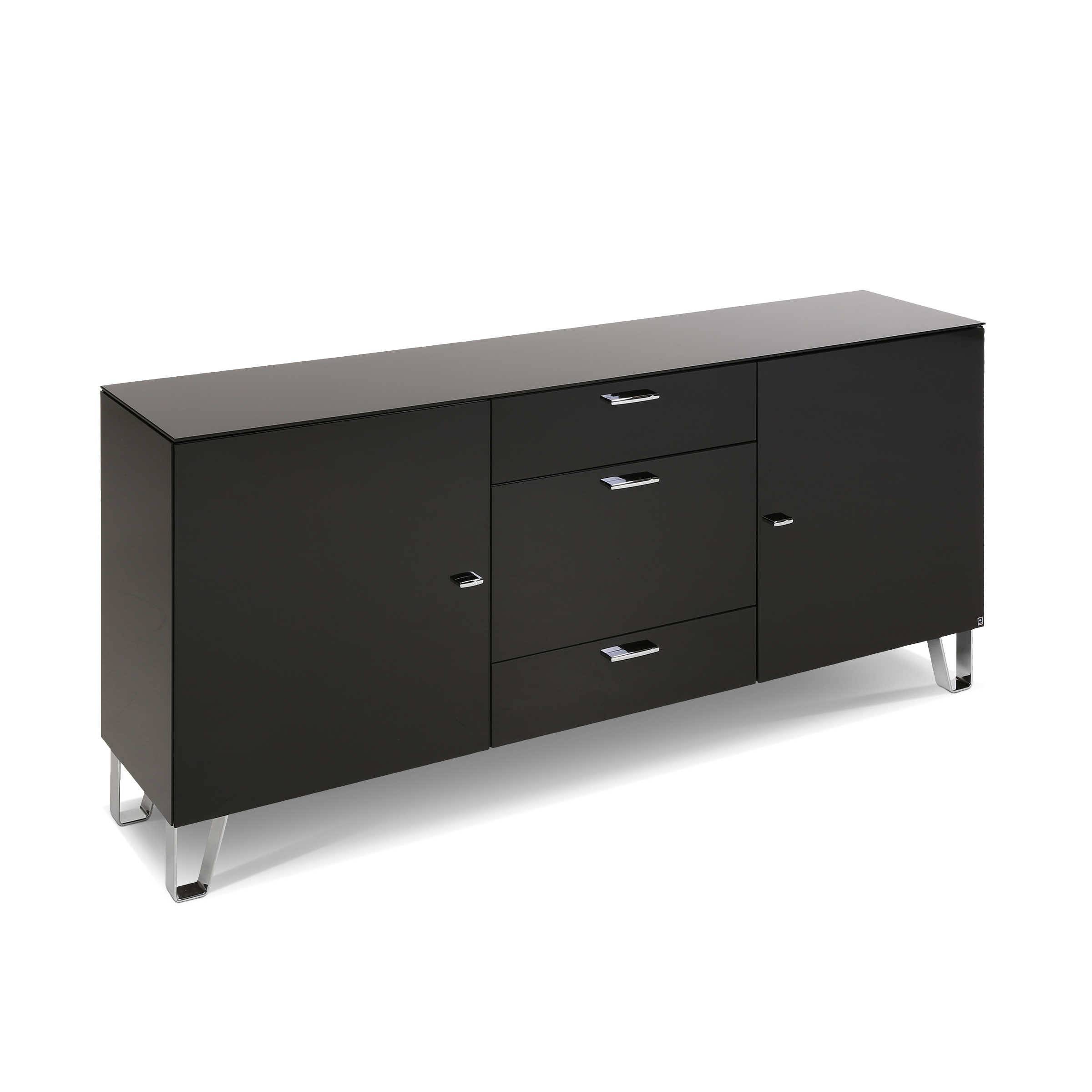 leonardo living sideboard cube schwarz glas online kaufen bei woonio. Black Bedroom Furniture Sets. Home Design Ideas