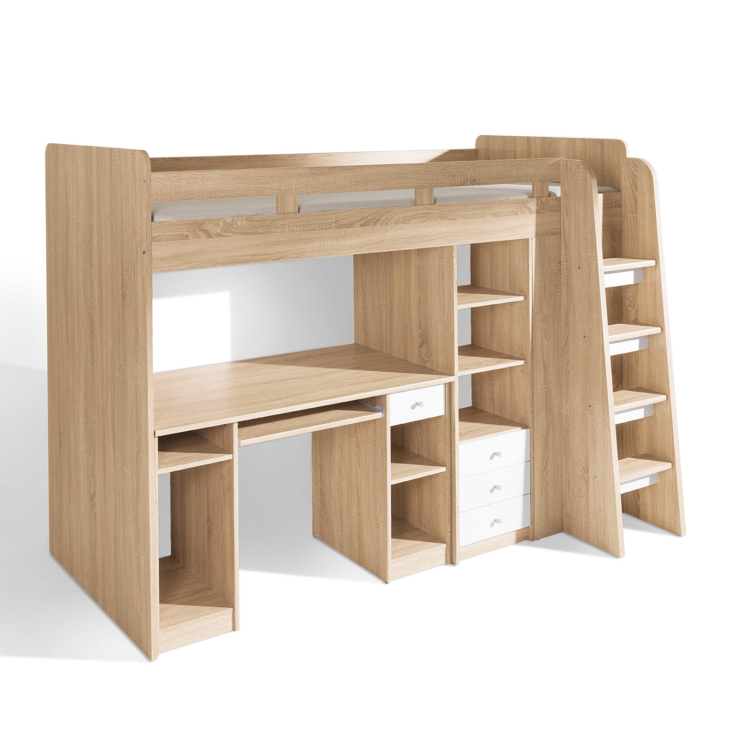 pol power hochbett unit 90 x 200 cm eiche holzoptik online. Black Bedroom Furniture Sets. Home Design Ideas