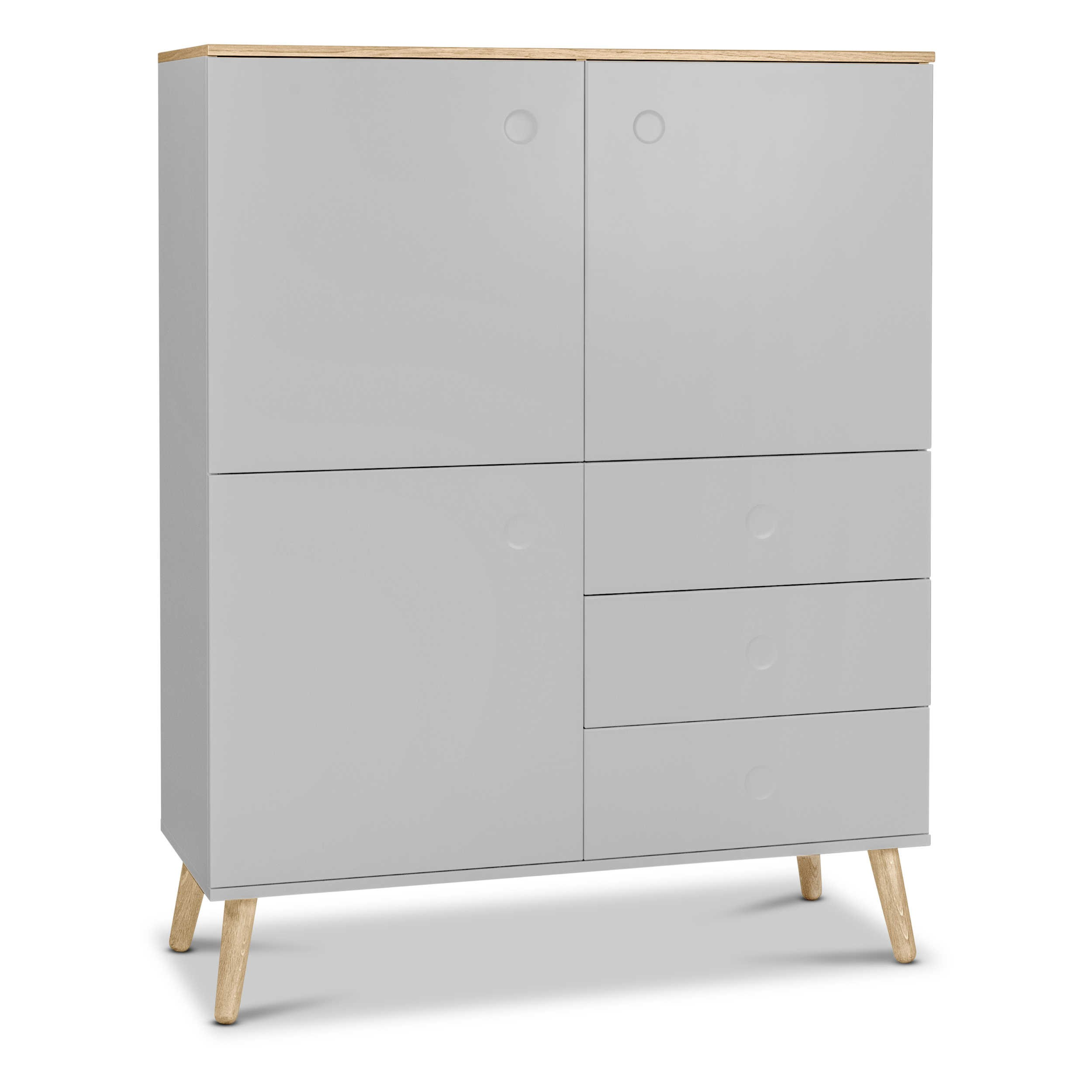 tenzo highboard dot grau lack hochglanz online kaufen bei woonio. Black Bedroom Furniture Sets. Home Design Ideas