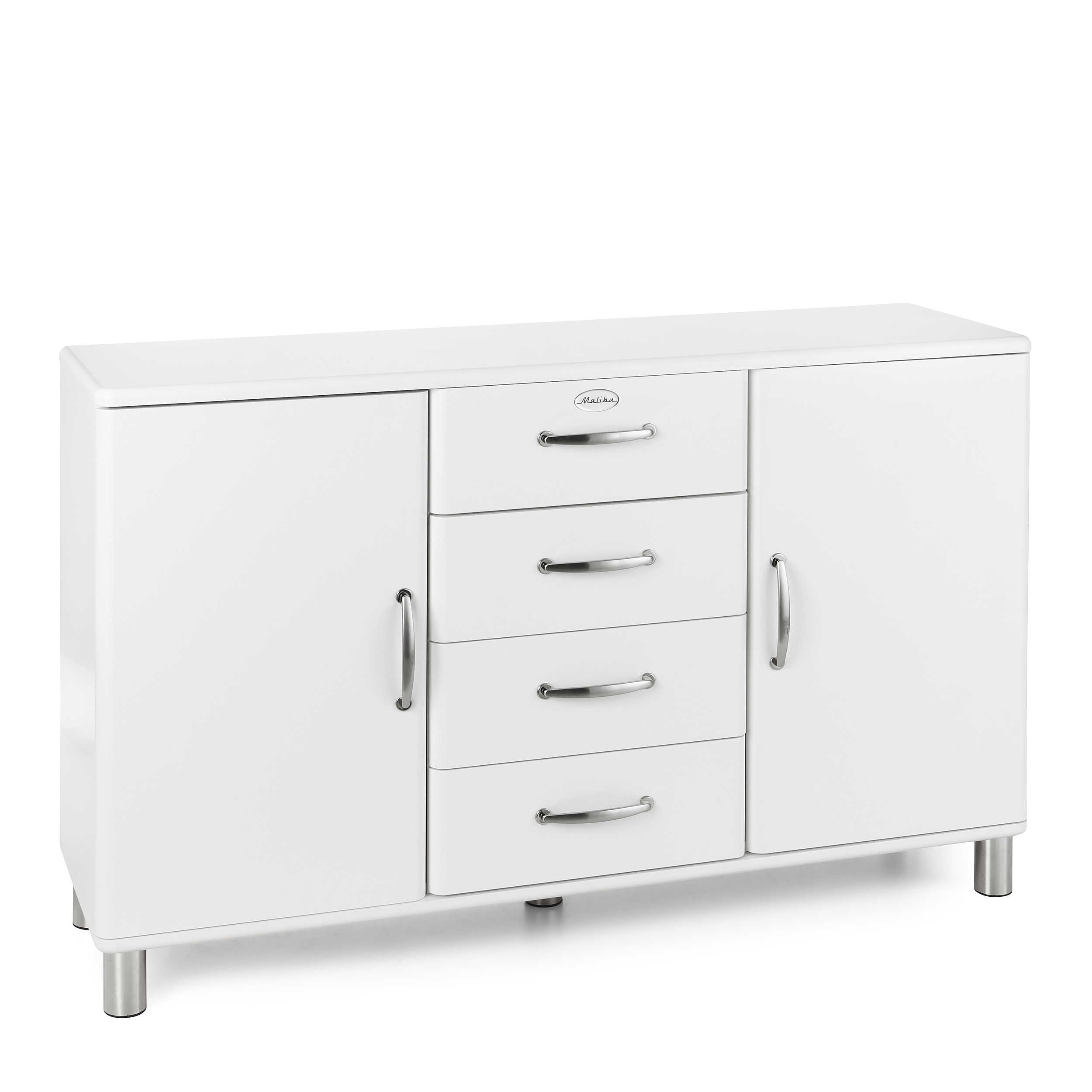 tenzo sideboard malibu wei lack hochglanz 146 cm online kaufen bei woonio. Black Bedroom Furniture Sets. Home Design Ideas