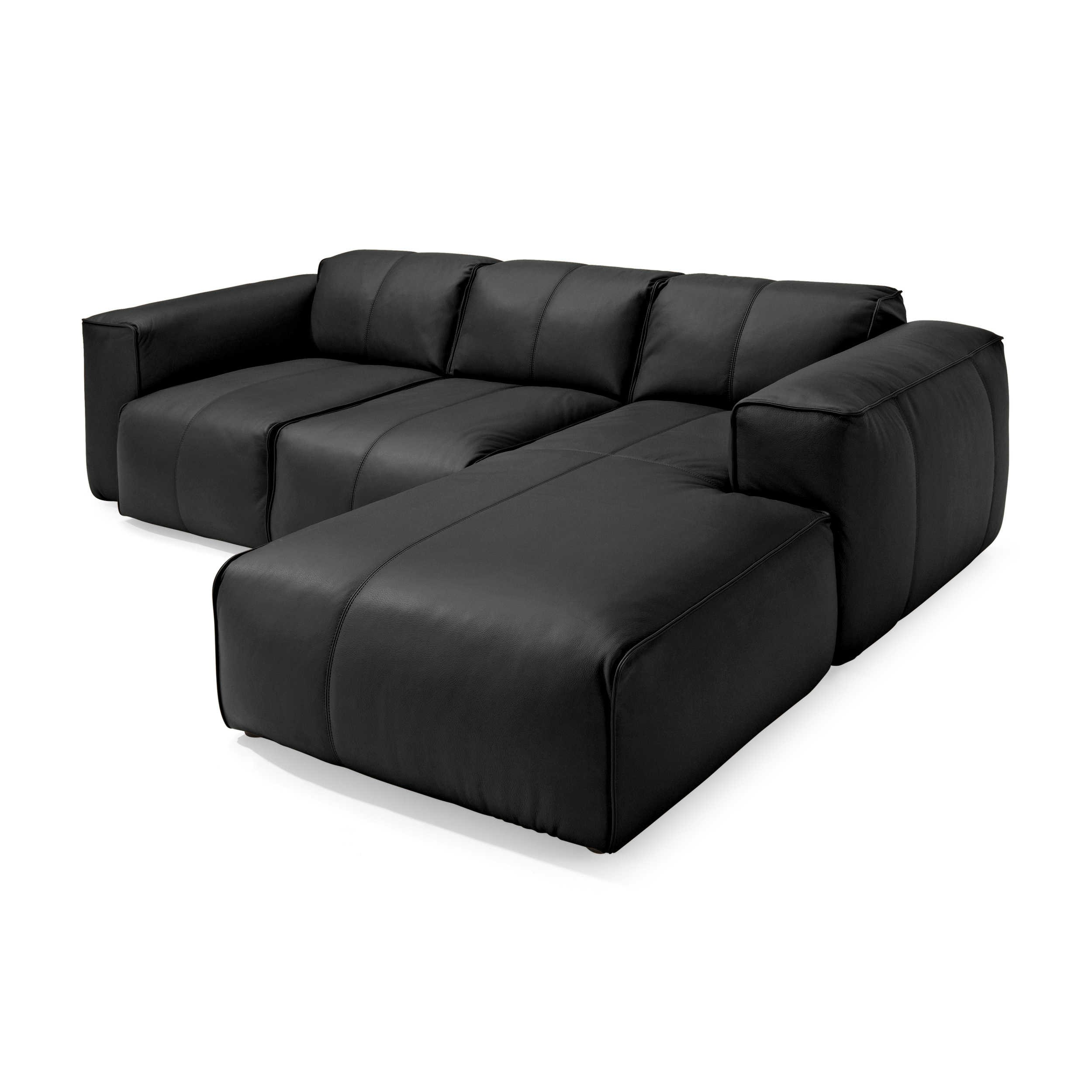 theca ecksofa fresno schwarz leder online kaufen bei woonio. Black Bedroom Furniture Sets. Home Design Ideas