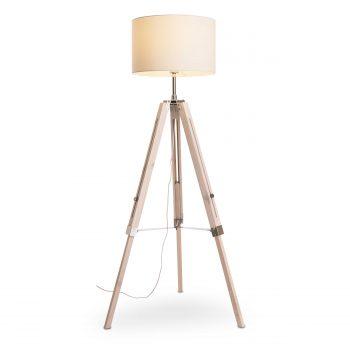 stehlampe wei holz top stehlampe tripod wood white stehleuchte dreibein holz mit weissem schirm. Black Bedroom Furniture Sets. Home Design Ideas