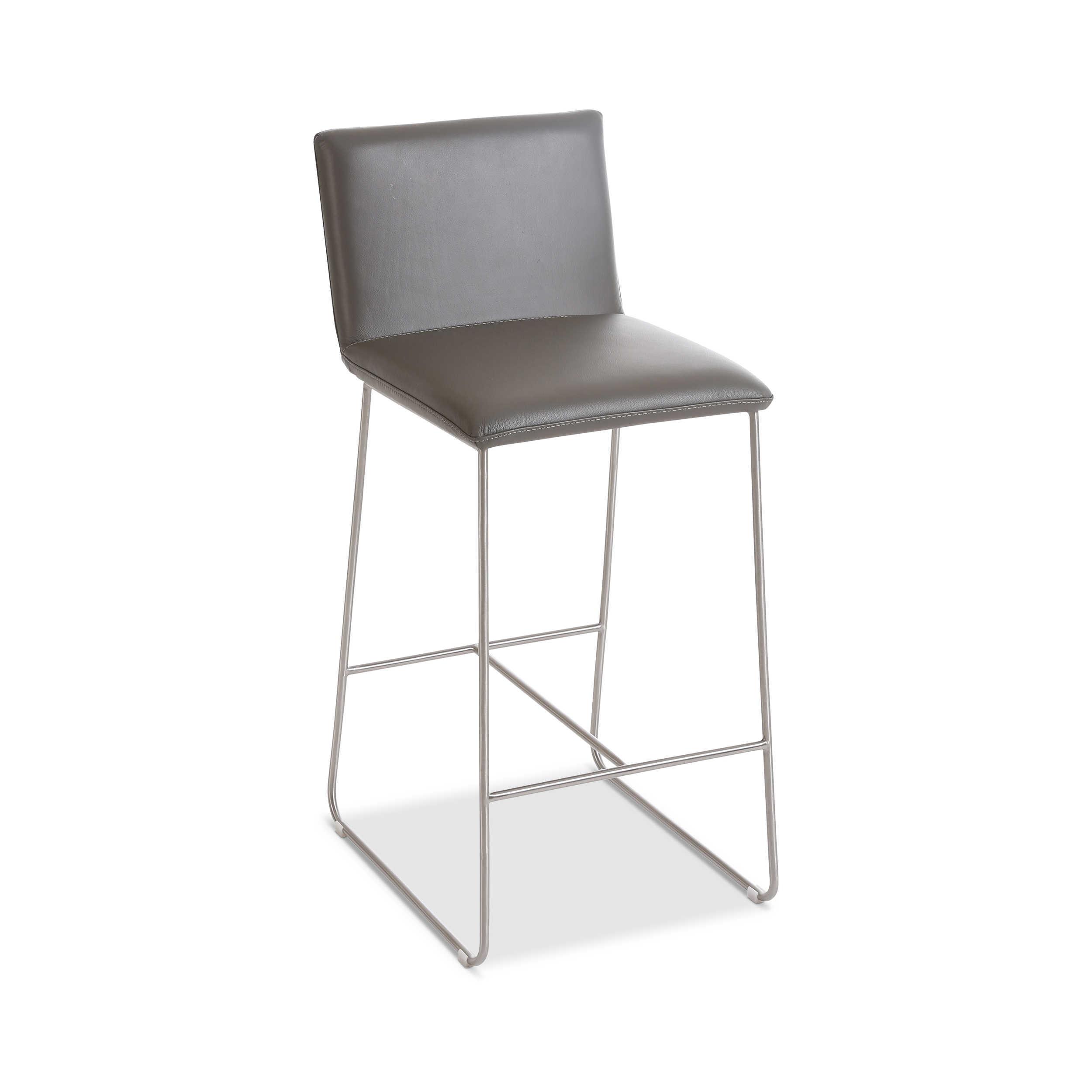 barhocker larino grau leder online kaufen bei woonio. Black Bedroom Furniture Sets. Home Design Ideas