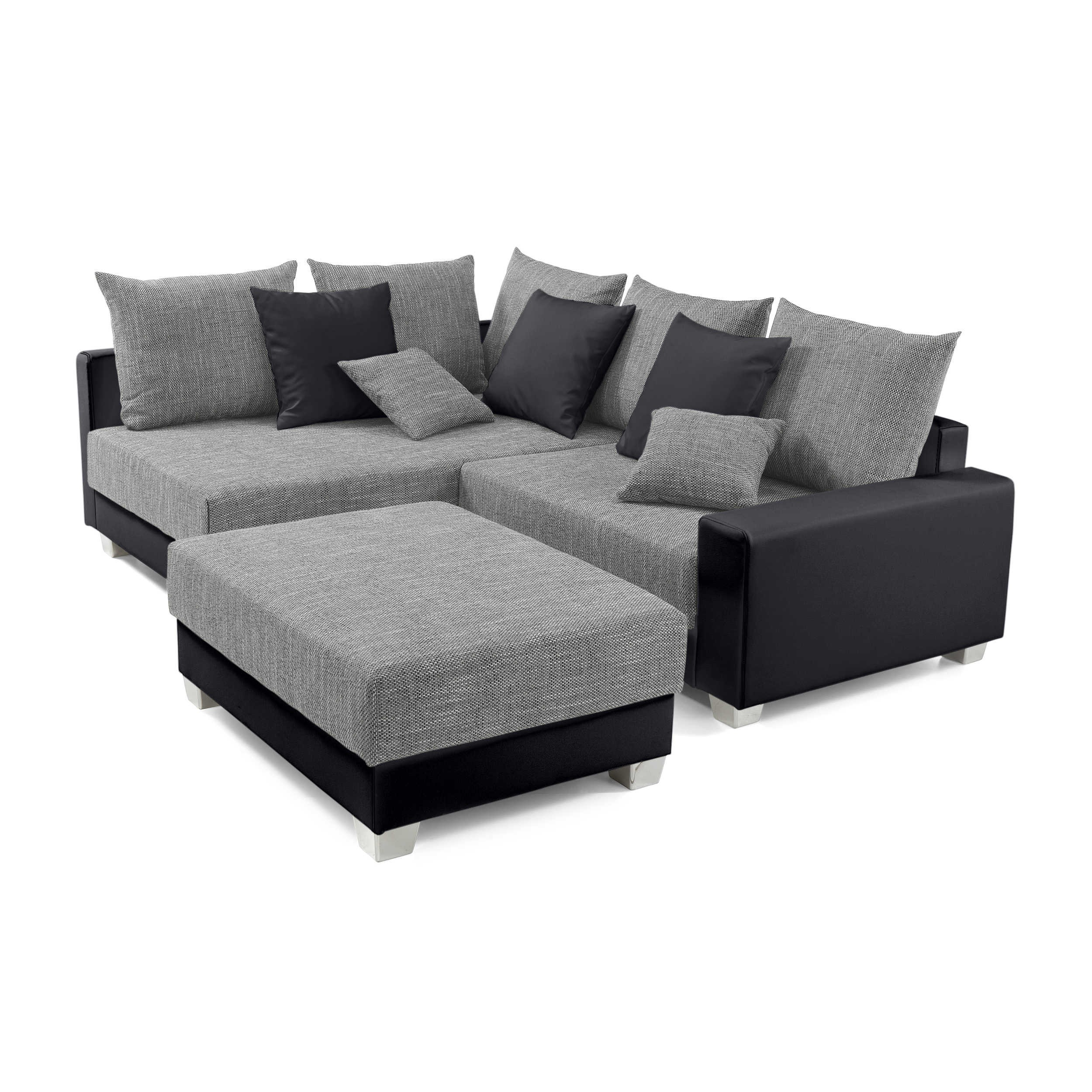 ecksofa mit hocker murlo grau stoff online kaufen bei woonio. Black Bedroom Furniture Sets. Home Design Ideas