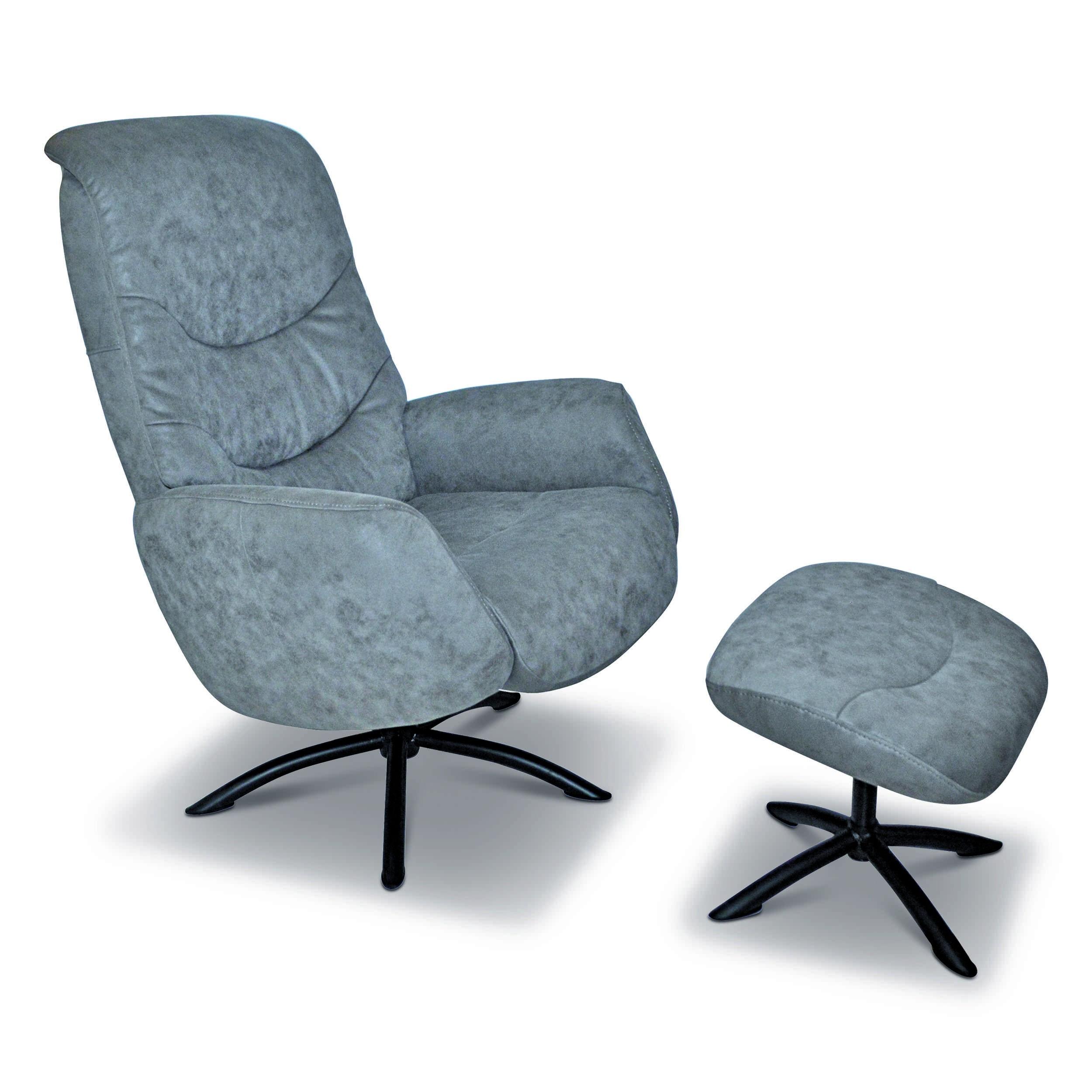 sessel mit hocker milford grau mikrofaser online kaufen bei woonio. Black Bedroom Furniture Sets. Home Design Ideas