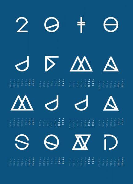 2018 Geometrical Calendar Indigo Leinwandbild