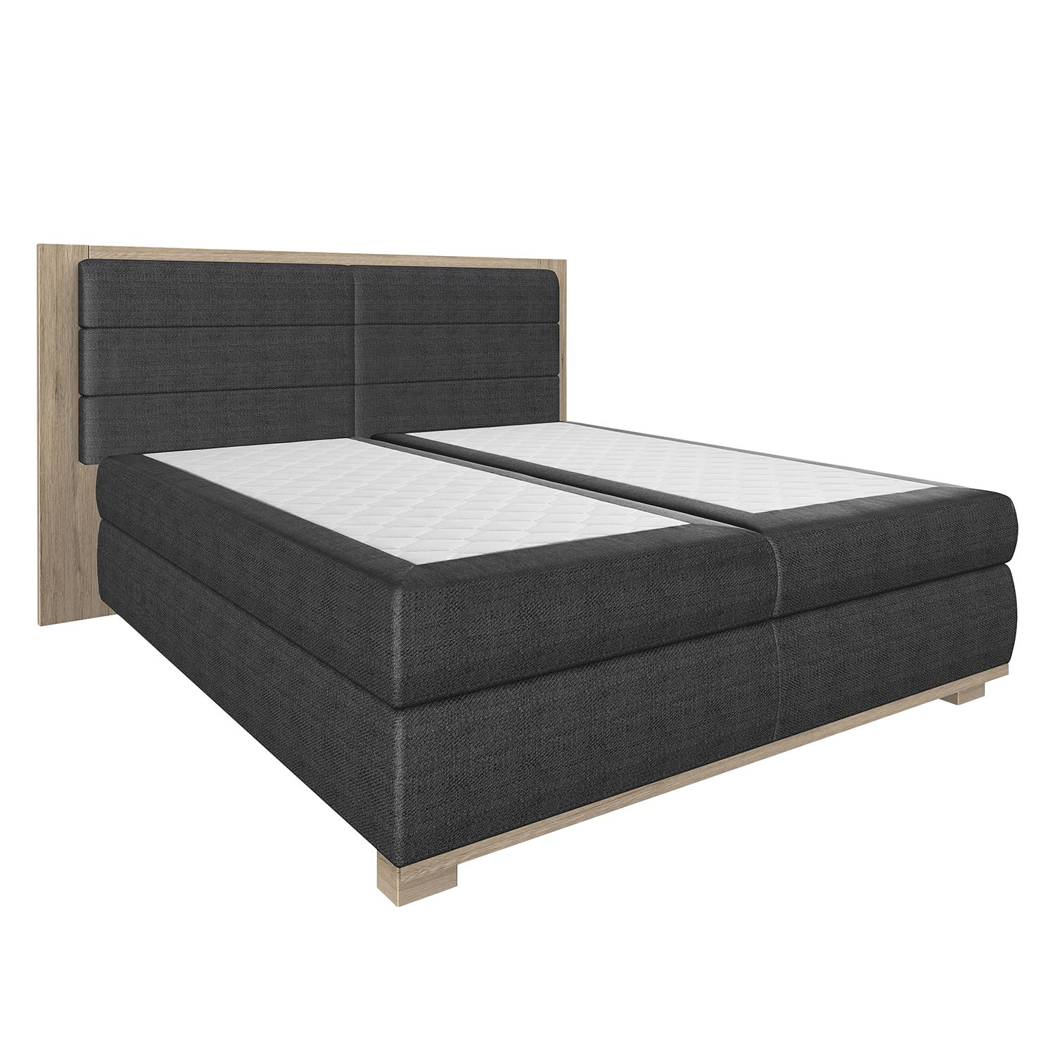 boxspringbett ohio ohne topper anthrazit schlammeiche dekor wimex online kaufen bei woonio. Black Bedroom Furniture Sets. Home Design Ideas