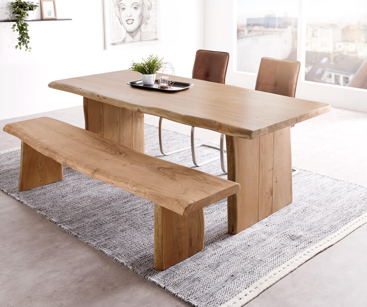 delife baumtisch live edge 200x100 akazie natur platte 5 5. Black Bedroom Furniture Sets. Home Design Ideas