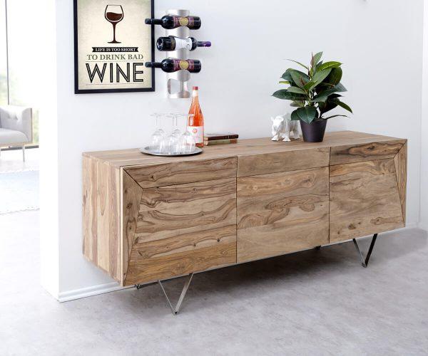 DELIFE Designer-Sideboard Wyatt 175 cm Sheesham Natur 3 Türen Edelstahl, Sideboards