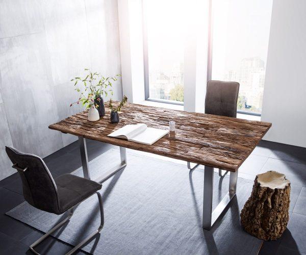 DELIFE Esstisch Gravio 200x100 Altholz Braun Gestell Edelstahl, Esstische