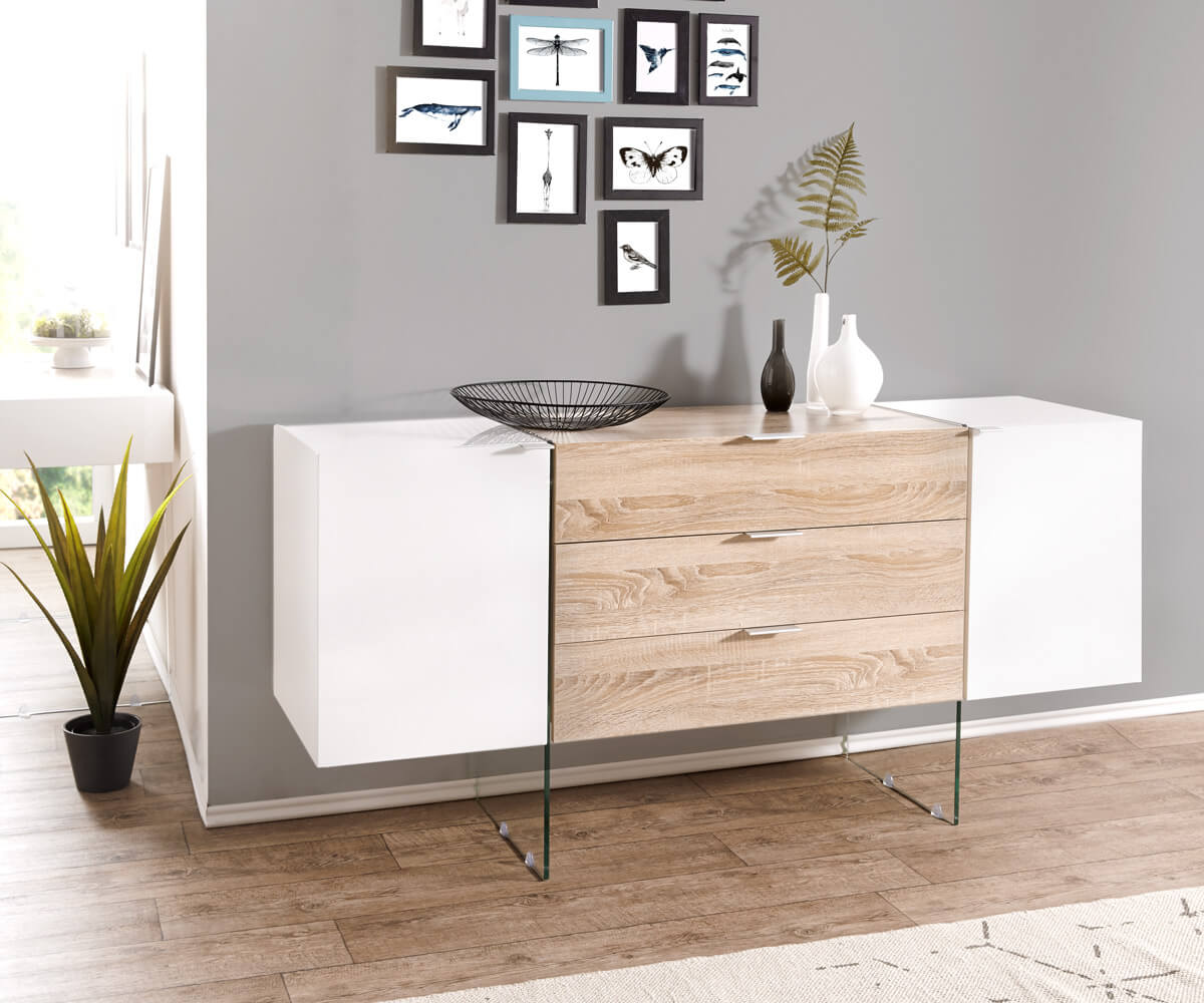 delife sideboard henora 160 cm weiss hochglanz eiche sonoma dekor sideboards 11578 online. Black Bedroom Furniture Sets. Home Design Ideas