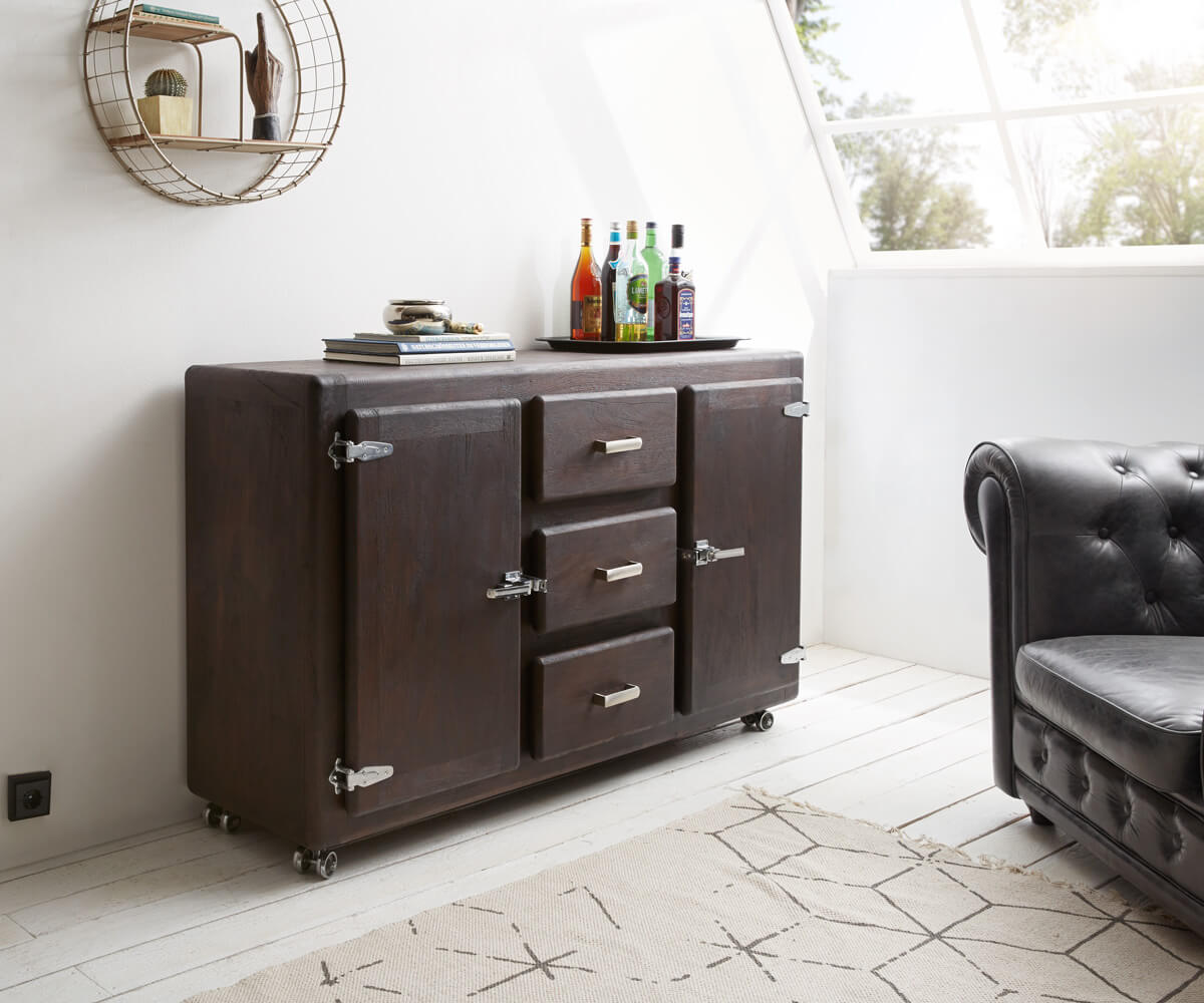 delife sideboard zakarya 150 cm akazie tabak 3 sch be massiv sideboards 11157 online kaufen bei. Black Bedroom Furniture Sets. Home Design Ideas