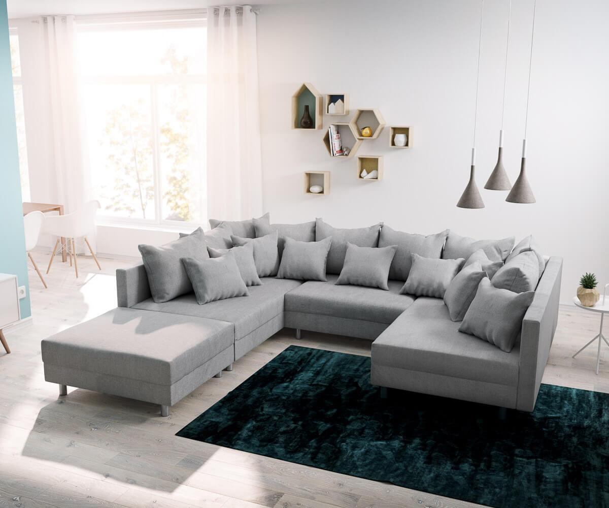 delife wohnlandschaft clovis grau modular flachgewebe. Black Bedroom Furniture Sets. Home Design Ideas
